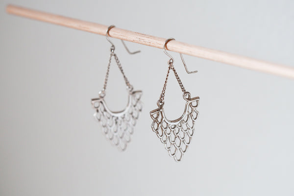 Mijatu Clamshell Drop Earrings handcrafted in solid Sterling Silver