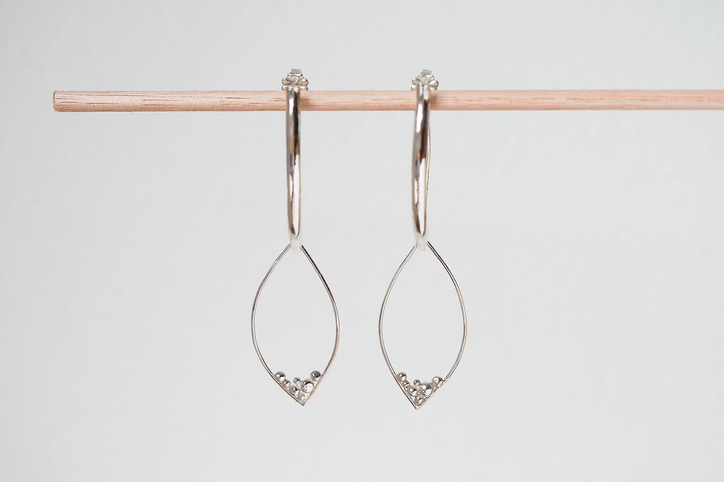 Mijatu Pod Dangle Earrings handcrafted in solid Sterling Silver