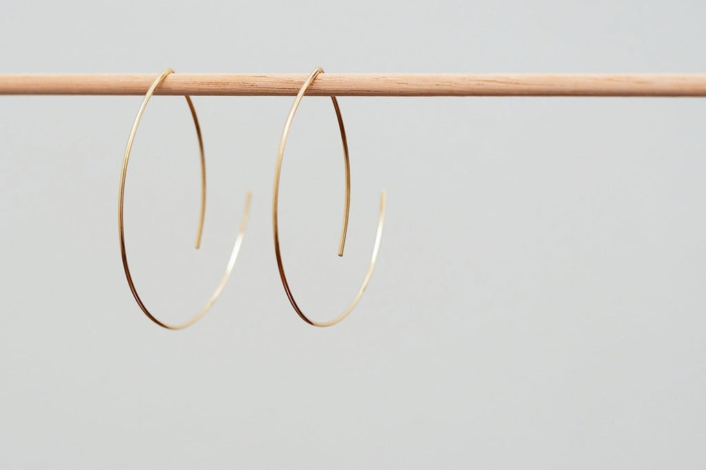 Mijatu Crescent Moon Hoop Earrings handcrafted in Gold Fill