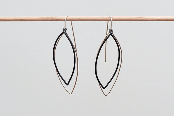 Mijatu Eucalyptus Drop Earrings handcrafted in solid Sterling Silver and Oxidised Silver