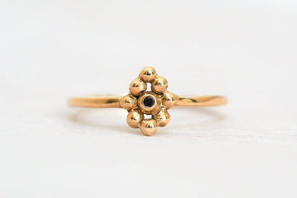 Mijatu Riverbed Black Diamond and Recycled Gold Ring