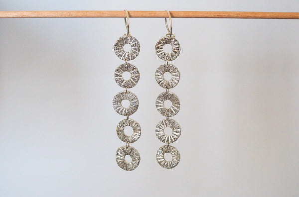 Mijatu Helios Drop Earrings handcrafted in solid Sterling Silver