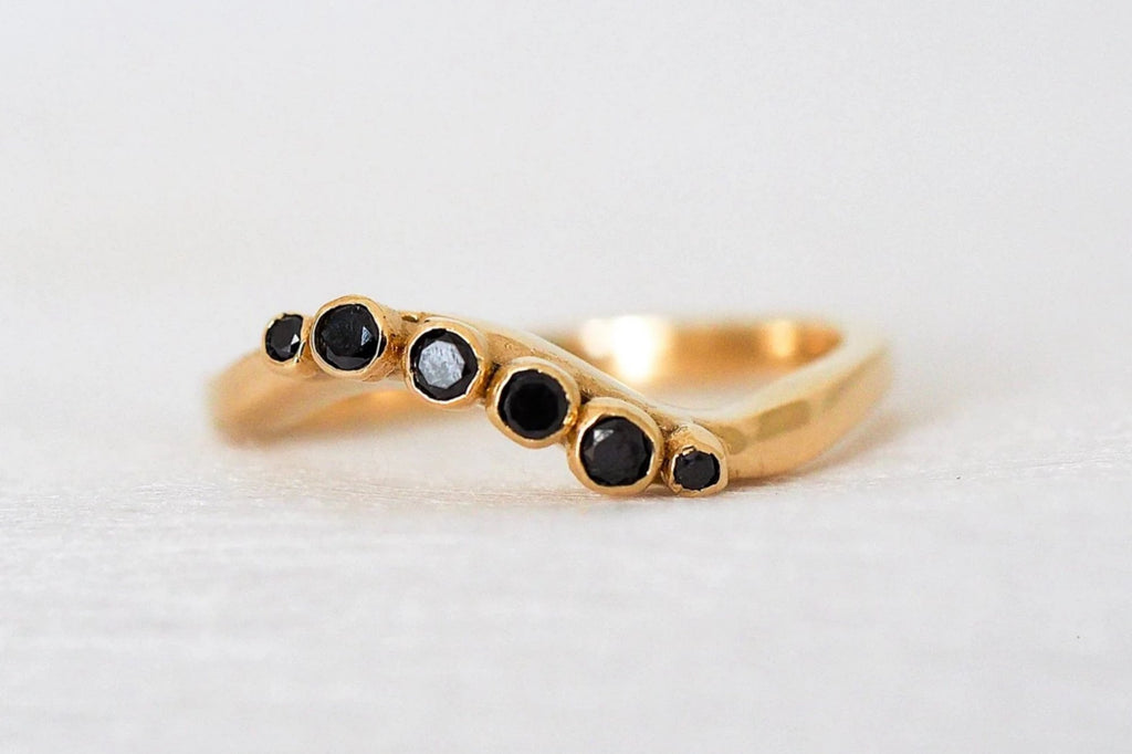 Mijatu Lunar Diamond and Recycled Gold Ring with Black Diamonds