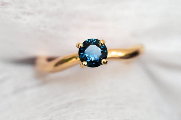 Mijatu Mira Gold and Blue Sapphire Engagement Ring