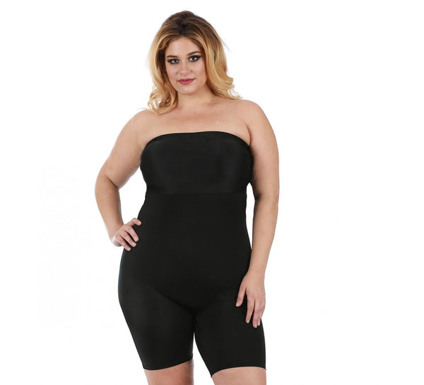 InstantFigure Curvy Strapless Bandeau Shorts With Open Gusset