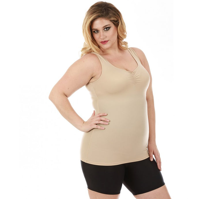InstantFigure Shirred Tank Top Curvy Shapewear