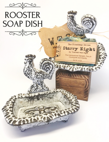 Cast Iron Rooster Soap Dish - White, Soap Dishes - What.The.Soap.