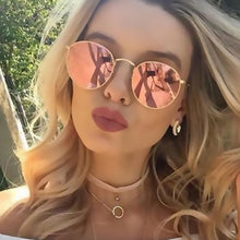 Rose Gold Round Sunglasses Metal Frame Mirror