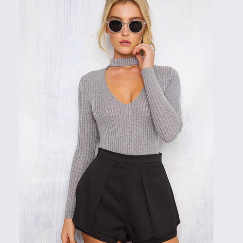Casual Knitted Playsuit Pullover Bodysuit - Choker V-Neck