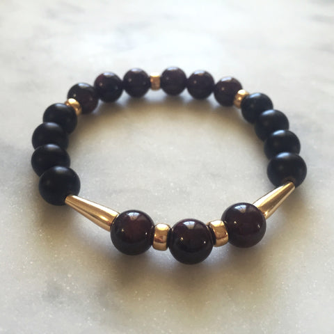 Threshold of Bliss - Onyx & Red Garnet