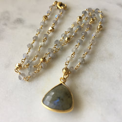 Embrace Change Triangle Necklace - Labradorite