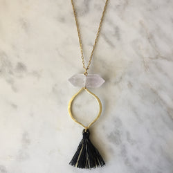 Clarity Necklace - Clear Quartz & Black Tassel