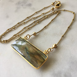Transformation Rectangle Necklace - Labradorite