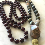 Red Garnet, Cat's Eye & Pink Tourmaline Mala - To Revitalize & Overcome