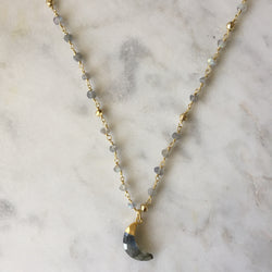 Embrace Change Crescent Necklace - Labradorite