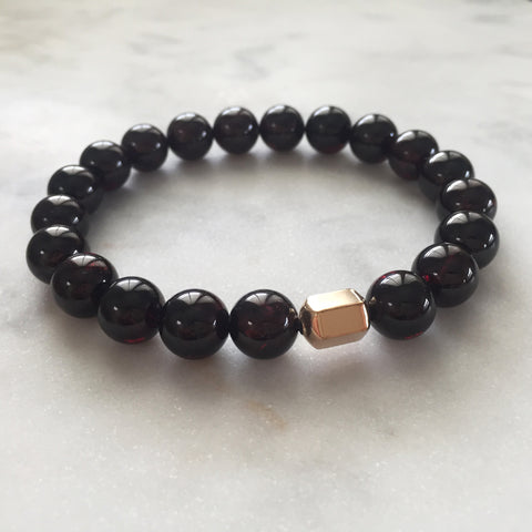 Men's red garnet vata and kapha dosha balancing bracelet