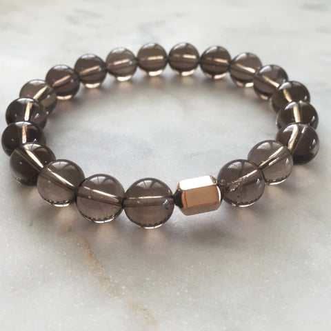 Men's grounding smoky quartz bracelet