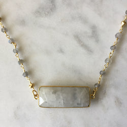 Embrace Change Rectangle Necklace - Labradorite & Moonstone