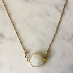 Goddess Hexagon II Necklace - Moonstone