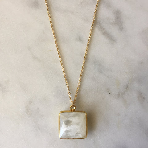 Goddess Square Necklace - Moonstone