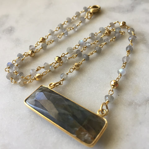 Embrace Change Rectangle Necklace - Labradorite