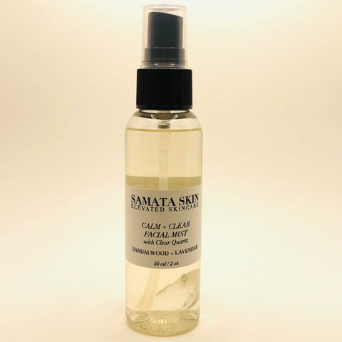 Calm + Clear Facial Mist:  Sandalwood + Lavender with Clear Quartz