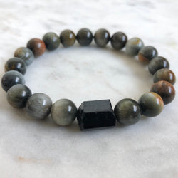 Guardian Men's Bracelet - Cat's Eye & Black Tourmaline
