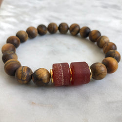 Vital Energy Men's Bracelet - Carnelian & Golden Tiger's Eye