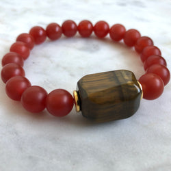 Soma II Men's Bracelet - Carnelian & Golden Tiger's Eye