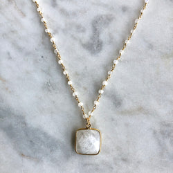 New Beginnings Square Necklace - Moonstone