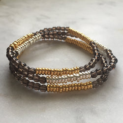Smoky quartz layering bracelet