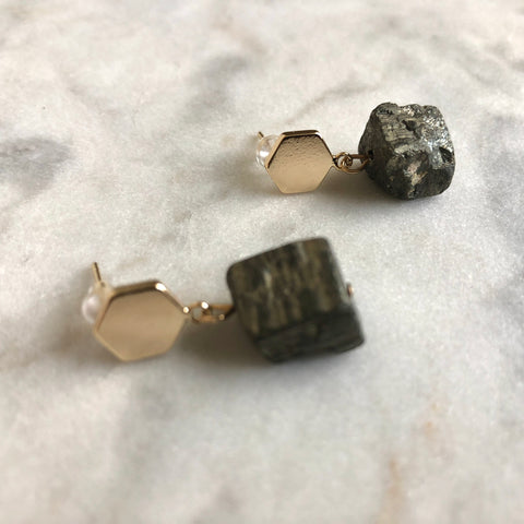 Harmony Earrings - Pyrite