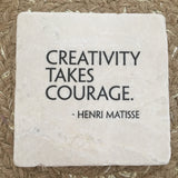 Marble Tile Adorned With Inspiration // Creativity takes courage