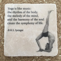 Marble Tile Adorned with BKS Iyengar Quote // Yoga is like music