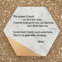 Hexagon Marble & Gold Tile Adorned with Rumi Quote // Lovers...
