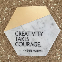 Hexagon Marble & Gold Tile Adorned With Inspiration// Creativity takes courage