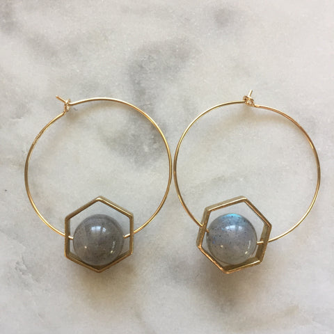 Satya Earrings - Labradorite