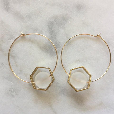 Satya Earrings - Clear Quartz