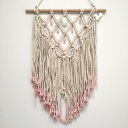 Aquamarine & Rose Quartz Dip Dyed Macrame Wall Hanging