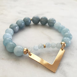 Aquamarine vata and pitta balancing chevron bracelet