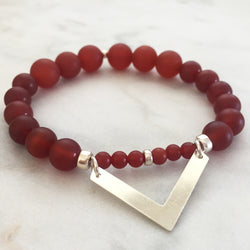 Carnelian pitta and kapha balancing chevron bracelet