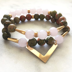 Harmony Duo - Unakite & Rose Quartz