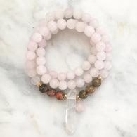 Thou Art That Necklace & Wrap Bracelet - Rose Quartz & Unakite