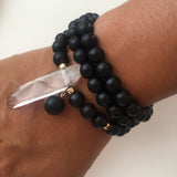 Thou Art That Necklace & Wrap Bracelet - Onyx & Clear Quartz