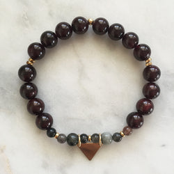 Red garnet cat's eye kapha balancing bracelet