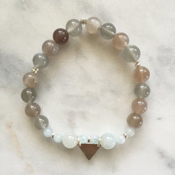 Moonstone aquamarine pitta balancing pregnancy support bracelet