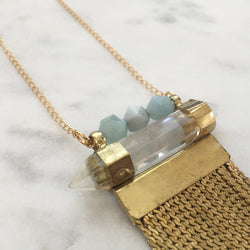 Amplify Necklace - Aquamarine & Clear Quartz