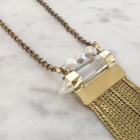 Amplify Necklace - Howlite & Clear Quartz
