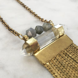 Amplify Necklace - Labradorite & Clear Quartz