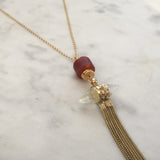 Blissful Balance Gold Necklace - Carnelian & Clear Quartz
